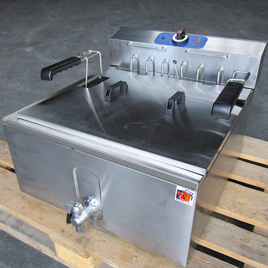 Elektro-Fritteuse für Konditorei mit Ablasshahn, Tischmodell, 25 Liter - GEBRAUCHT