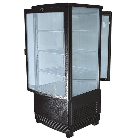 Getränkekühlvitrine mit 3 Böden, Tischmodell, 86 Liter, 0°/+12°C, Farbe schwarz