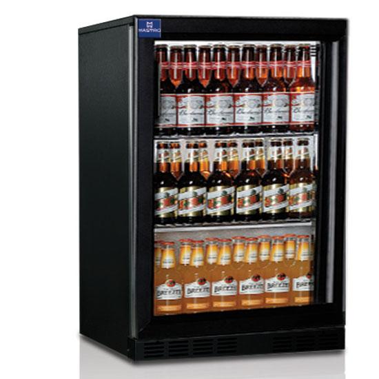 réfrigérateur bar avec 1 porte battante en verre, 128 litres, +1°/+10°C