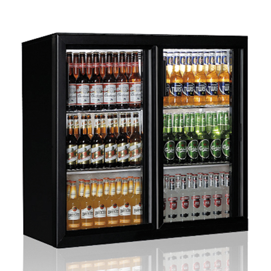 undercounter refrigerator with 2 hinged glass doors, 200 litres, +1°/+10°C