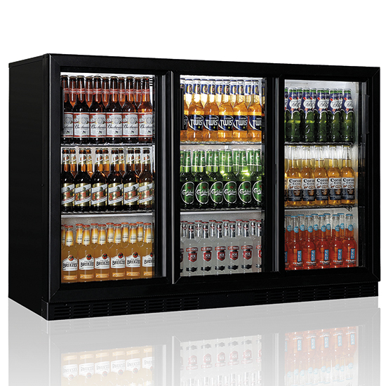 undercounter refrigerator with 3 hinged glass doors, 312 litres, +1°/+10°C