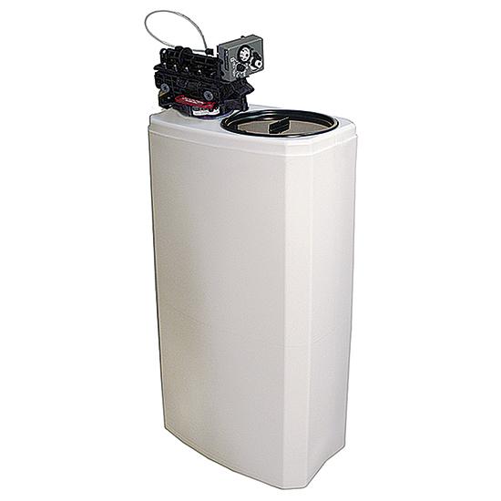 ablandador de agua automático, capacidad 27 litros, 1000 litros/h, reserva de sal 50 kg