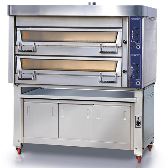 Elektro-Bäckereiofen, Backkammer 2+2x 60x40 cm H=18 cm mit Gärschrank und Abzugshaube, mechanisch