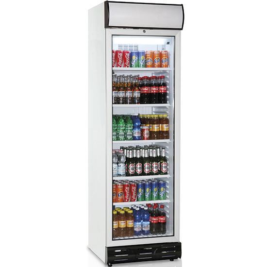Getränkekühlvitrine 379 Liter mit Glastür und Werbedisplay, 5 Roste, +1°/+10°C