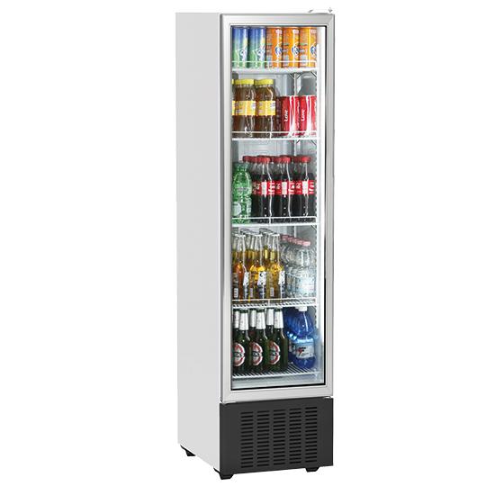 Getränkekühlvitrine 246 Liter mit Glastür und 5 Roste, +1°/+10°C