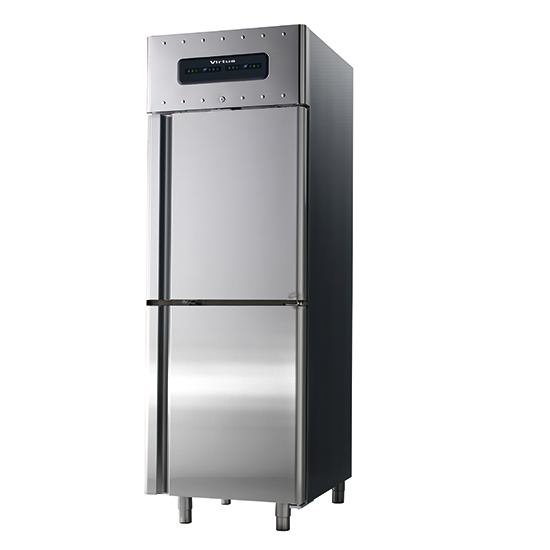Kühlschrank 350+350 Liter aus Edelstahl, GN 2/1, -2°/+8°C
