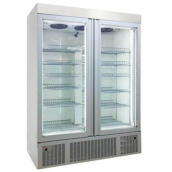 Tiefkühlschrank 1300 Liter aus Edelstahl mit Glastüren, -2 °C/-25 °C