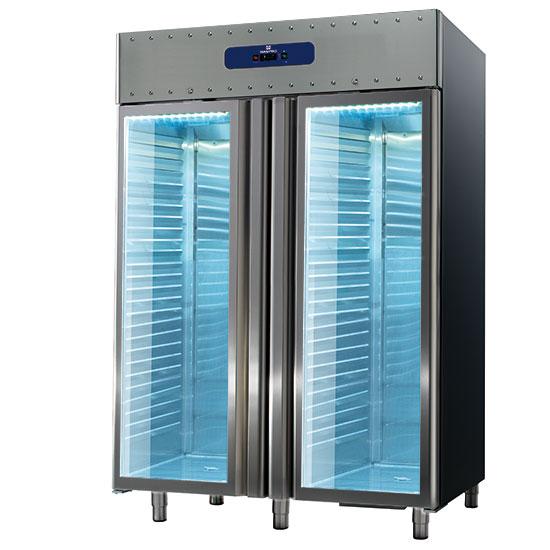 Tiefkühlschrank 1400 Liter aus Edelstahl mit Glastüren, GN 2/1, -10°/-25°C, 85 mm Isolierung