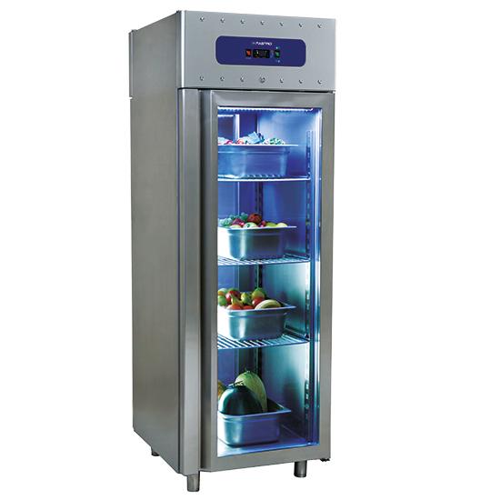 Kühlschrank 700 Liter aus Edelstahl mit Glastür, GN 2/1, -2°/+8°C