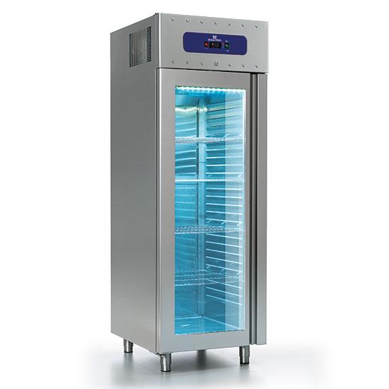 Kühlschrank 700 Liter aus Edelstahl mit Glastür, GN 2/1, -2°/-8°C, 85 mm Isolierung