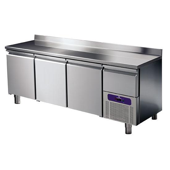 Kühltisch 3 Türen GN 1/1 mit Aufkantung und gekühlter Schublade, -2°/+8°C