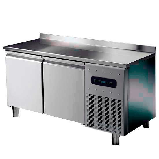 mesa refrigerada para pastelería con 2 puertas 600x400 mm, encimera en inox y peto, -2°/+8°C