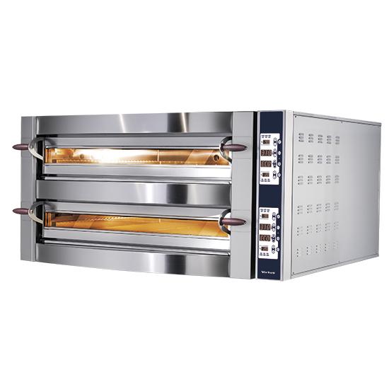 Elektro-Pizzaofen für 6+6 Pizzen ø 35 cm, elektronische Bedienung