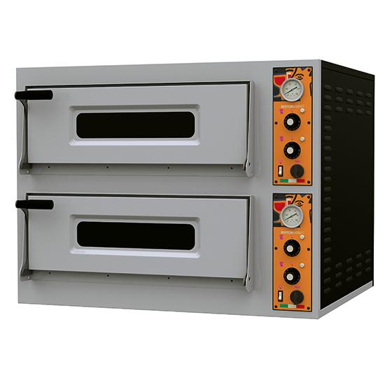 Elektro-Pizzaofen für 4+4 Pizzen ø32 cm, mechanische Bedienung