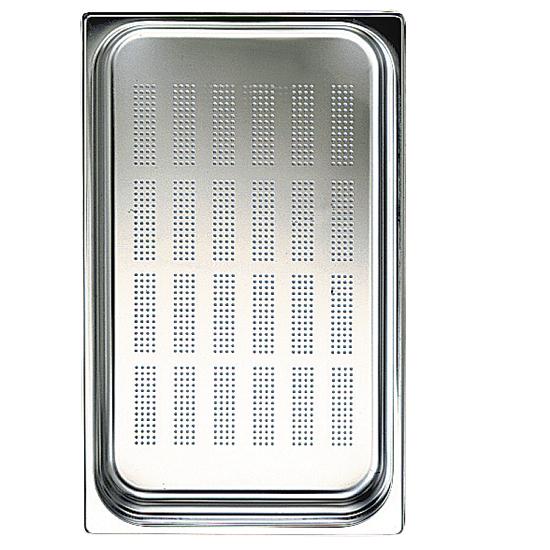 GN Behälter in Edelstahl, gelocht, GN 1/1 H=100 mm