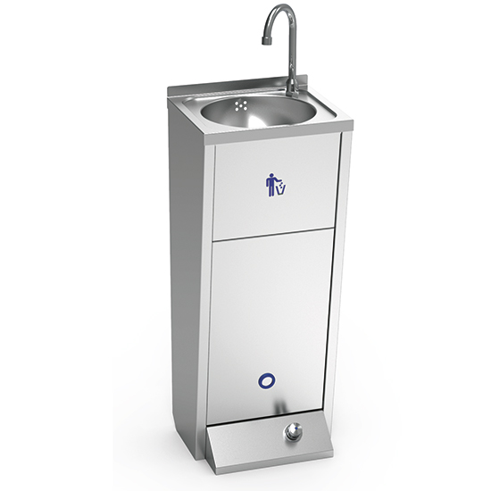 Handwaschbecken mit Fußbedienung und Papiereimer
