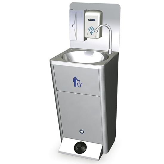 mobiles Handwaschbecken mit Fußbedienung, Papiereimer und Seifen- und Papierspender