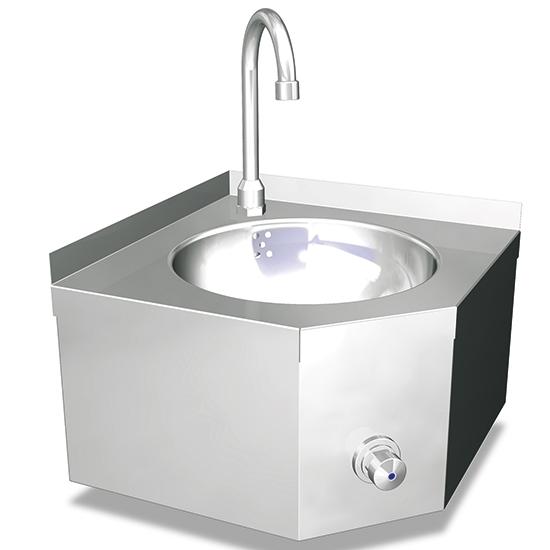 Eck-Handwaschbecken mit Kniebedienung