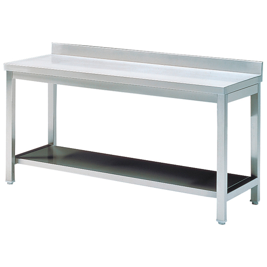 Arbeitstisch mit Zwischenboden und Aufkantung, 2000x700 mm - AUSSTELLUNGSWARE