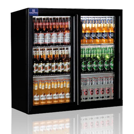 réfrigérateur bar avec 2 portes coulissantes en verre, 200 litres, +1°/+10°C