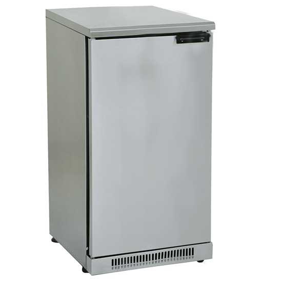 Unterbaukühlschrank aus Edelstahl mit 1 Flügeltür, 110 Liter, 0 °C/+10 °C