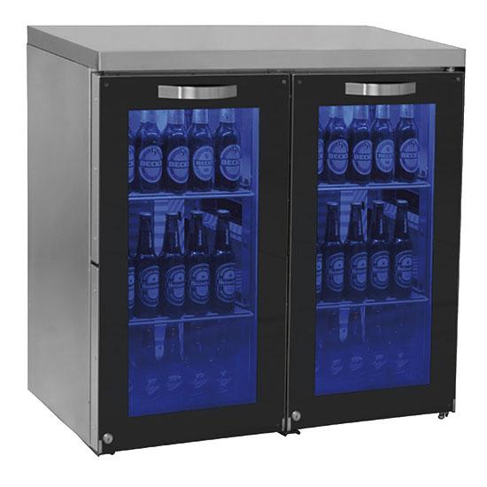 Unterbaukühlschrank mit 2 Glasflügeltüren, 90+90 Flaschen, 0 °C/+8 °C