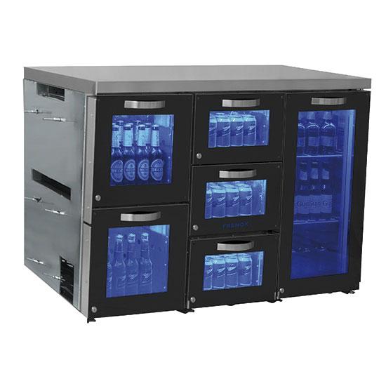 Barkühlschrank rechts mit 1 Glasflügeltür und 5 Glasschubladen, 90 Flaschen, 0°/+8°C