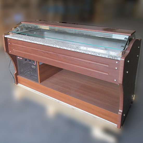 kaltes Buffet mit statischer Kühlung, Inselmodell, 4x GN 1/1 h=150mm, Haube nicht absenkbar - DEFEKT
