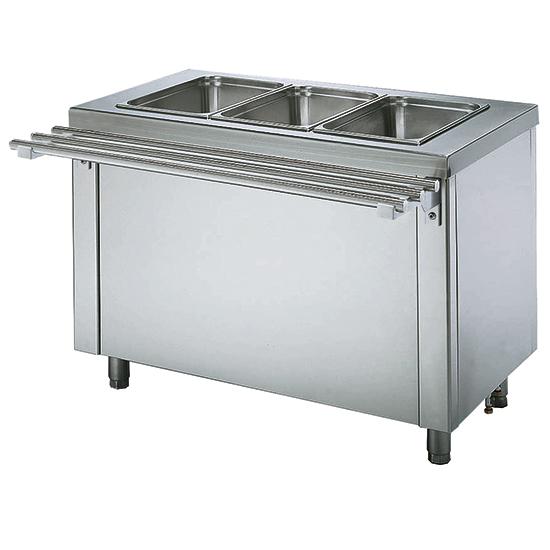 Elemento banho-maria seco sobre armário aquecida 3x GN 1/1