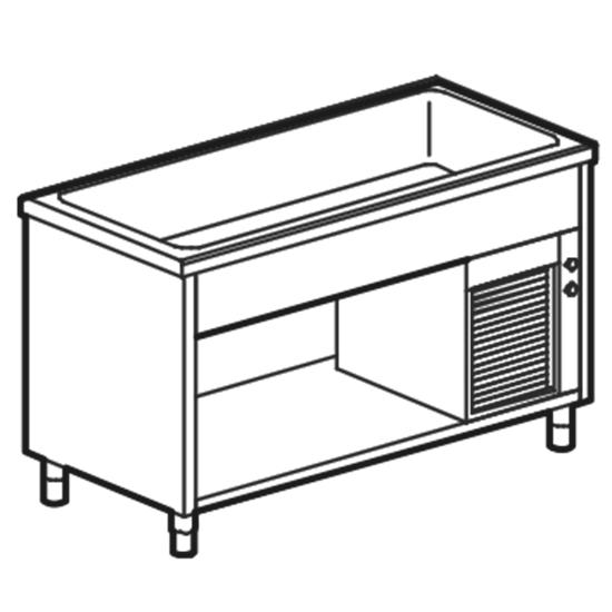Kühlwannen-Element auf offenem Schrank, B=2000 mm, 5x GN 1/1