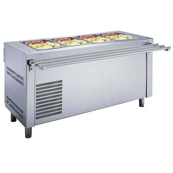 Elemento com cuba refrigerada 4x GN 1/1 sobre armário refrigerado