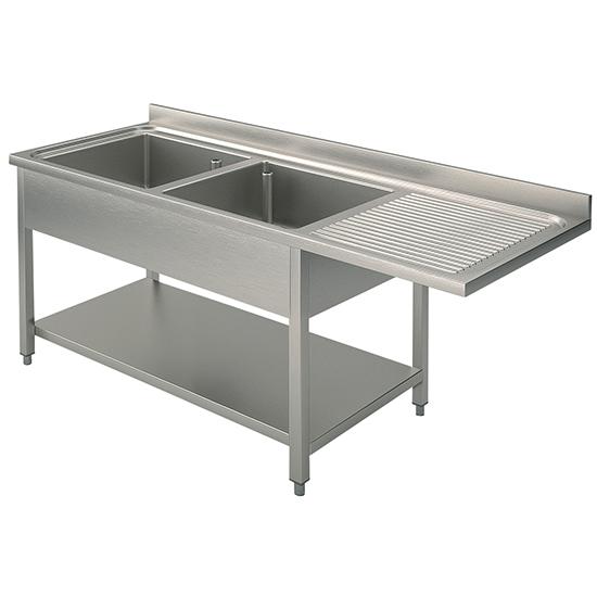 Spülcenter mit 2 Becken links und Zwischenboden für Einbau-Geschirrspüler, 1600x600 mm