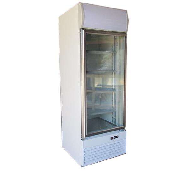 Tiefkühlvitrine 400 Liter mit Glastür und Werbedisplay, -18°/-22°C - BESCHÄDIGT