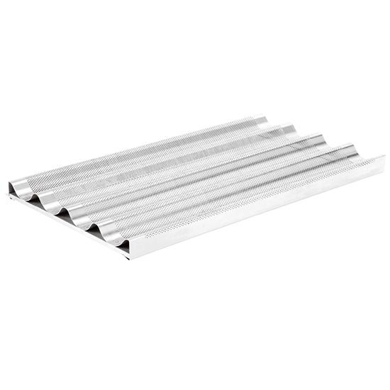 perforiertes Aluminiumblech mit 4 Rinnen und Halterung, GN 1/1