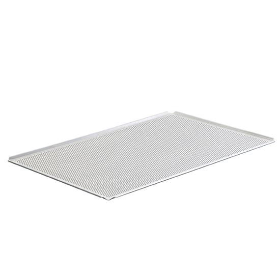 Backblech aus Aluminium unbeschichtet, 600x400 mm - 4 Seiten 45°, gelocht
