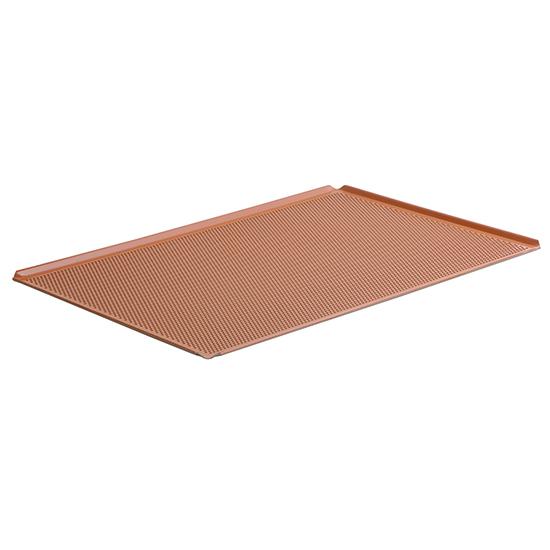 Backblech aus Aluminium, GN 1/1 - 4 Seiten 45°, Silikon, gelocht